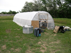 First Hoophouse: constructed february 2003